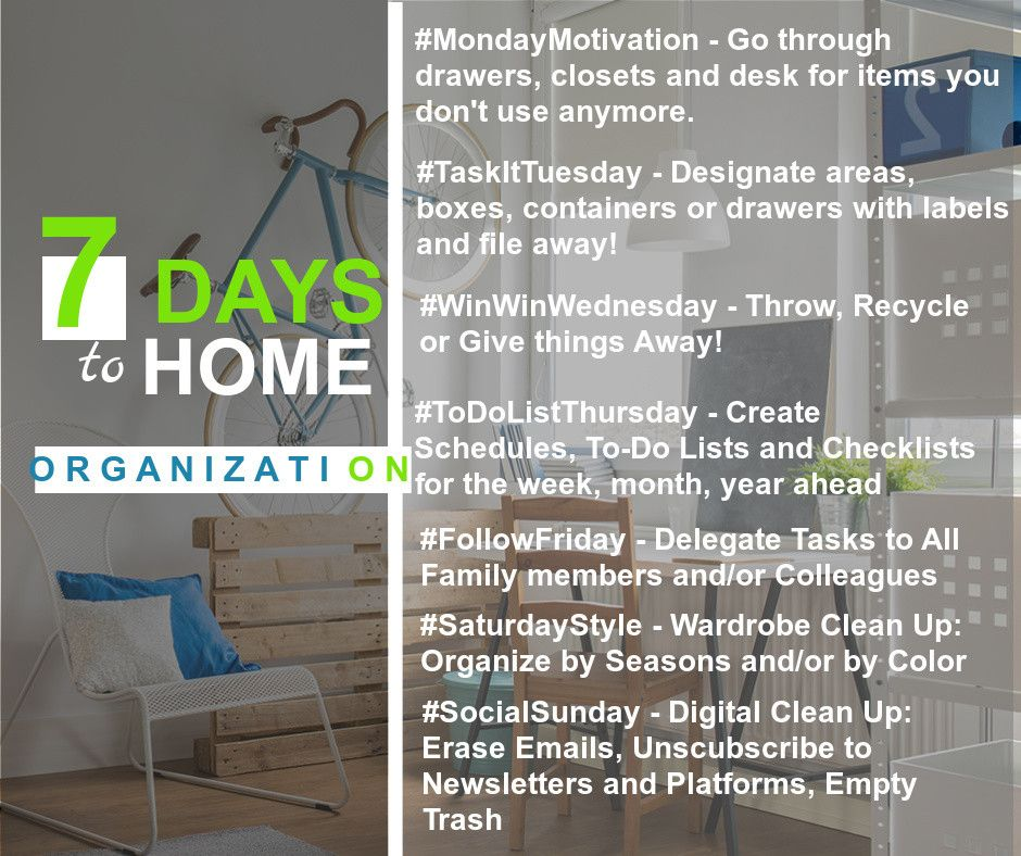 7 Day Organization Tips Home Inventory Tips Pinterest