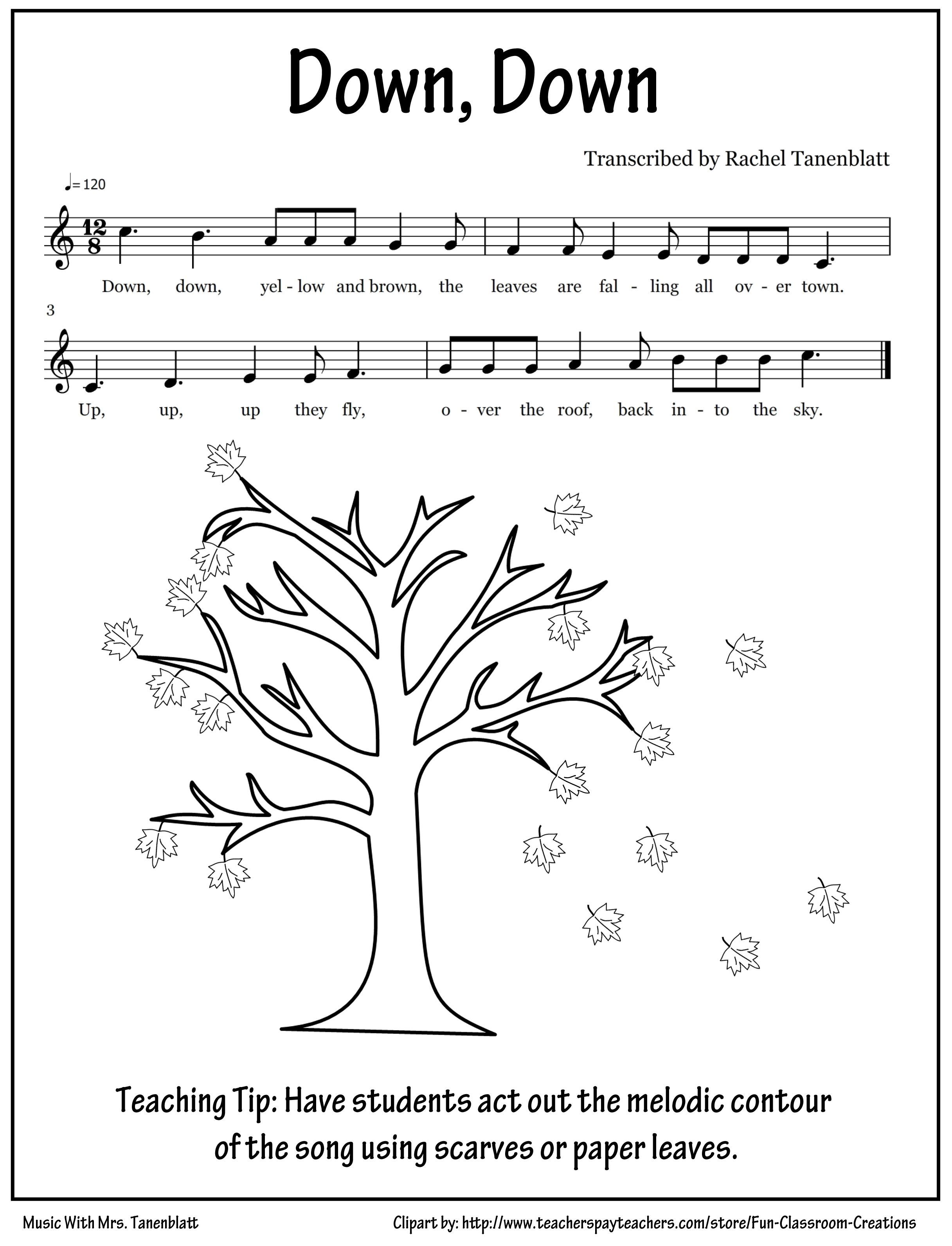 Kindergarten Fall Leaves Song Can Color In Paper Leaves Then Use To Show Contour In Song Love Kindergarten Music Music Lesson Plans Elementary Music Class [ 3183 x 2433 Pixel ]