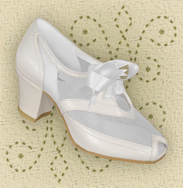 Aris Allen All White Peep-toe 1940s Heeled Mesh Oxford (for church)