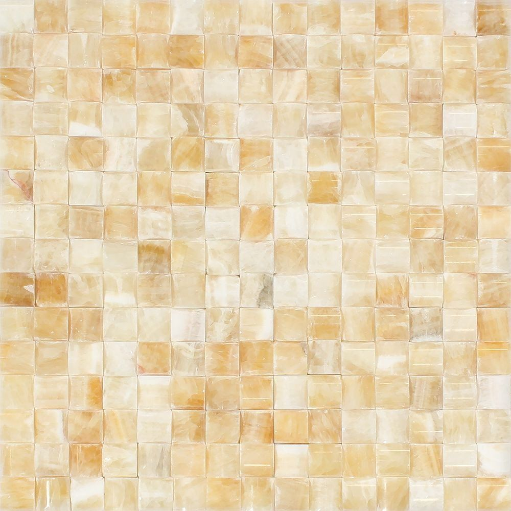 Honey Onyx Polished 3D SmallBread Mosaic Tile Mosaic