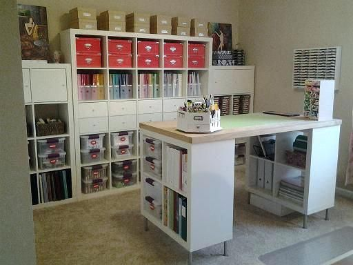 Awesome Way To Organize A Craft Room Craft Desk With Storage Ikea Shelving Units Craft Island Craft Ikea Craft Room Craft Room Design Sewing Room Organization