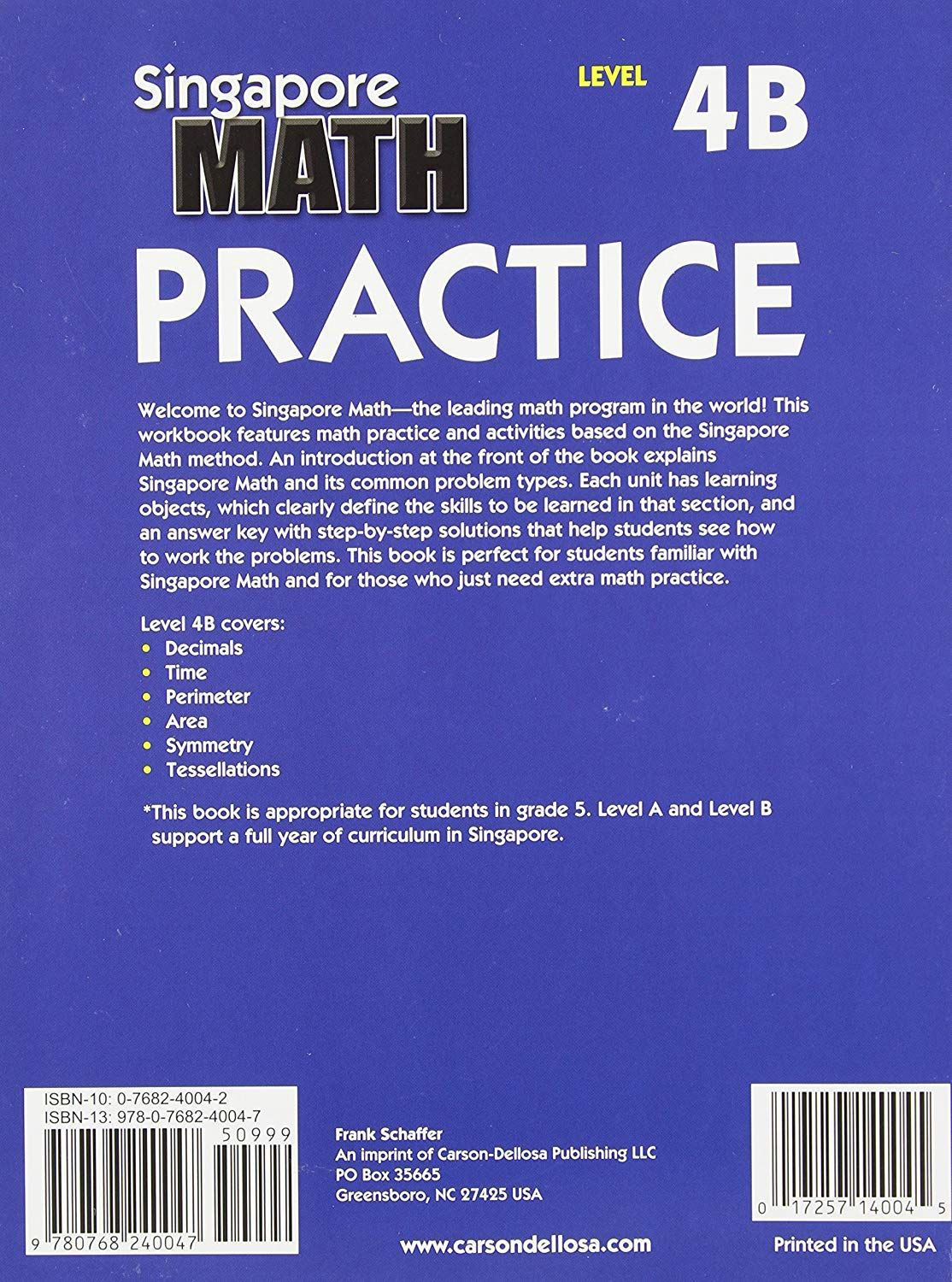 Math Practice Level 4b Grade 5 Book Take A Look At This