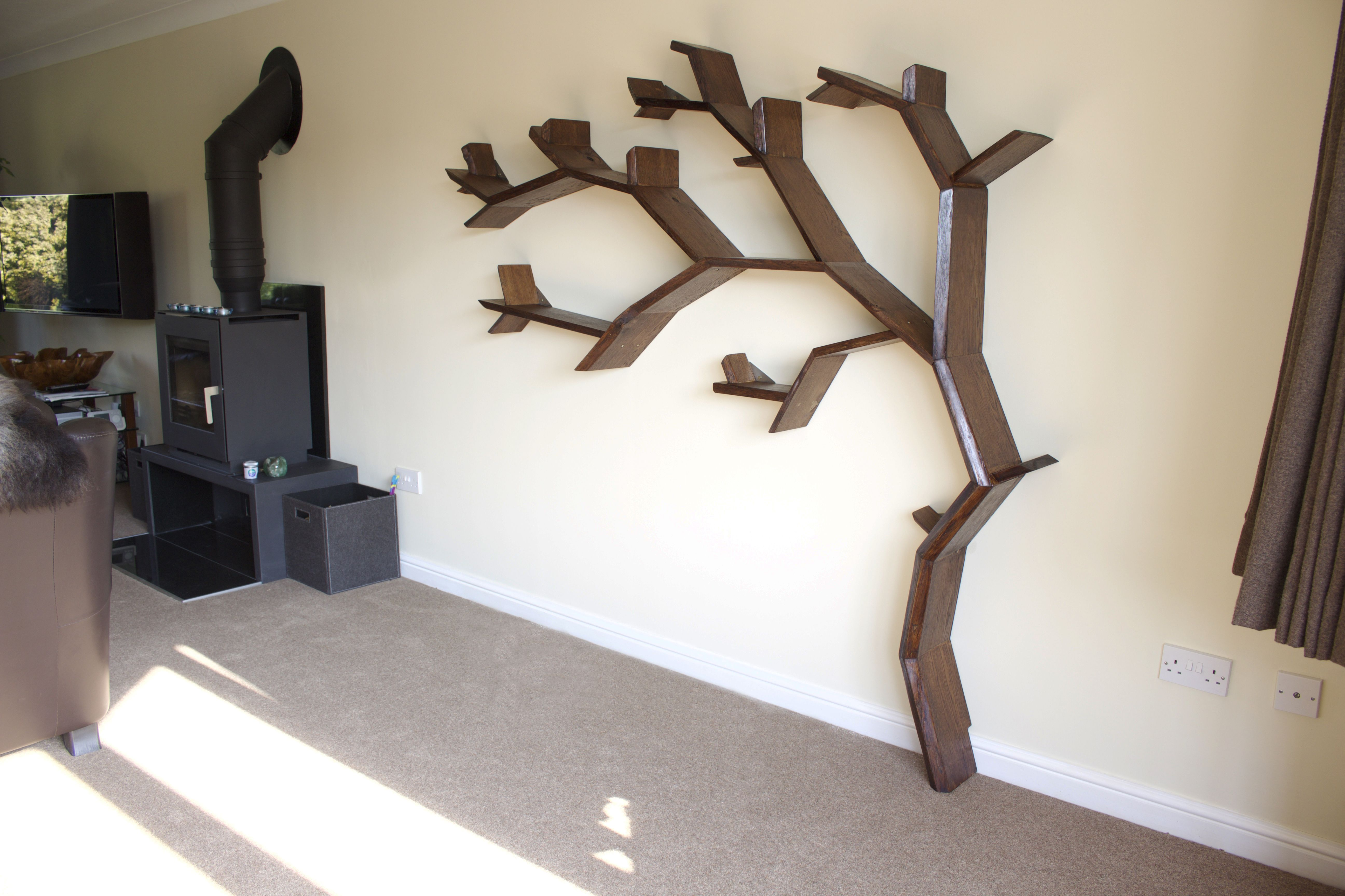 Dark Oak 6ft, Right Handed Windswept Tree Shelf by BespOak Interiors