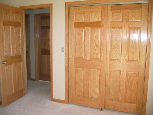 Wooden Bypass Closet Doors | Panel Oak Door With 6 Panel Oak Closet Doors .