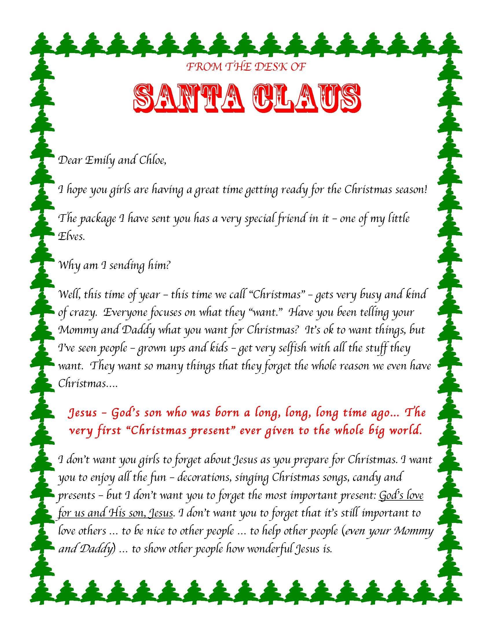 Elf on the Shelf intro letter including Jesus explanation