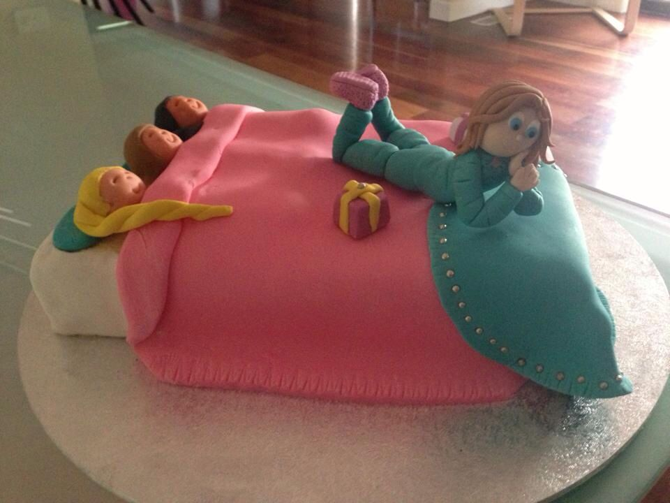 My daughters 9th birthday cake for a slumber party Birthday cake