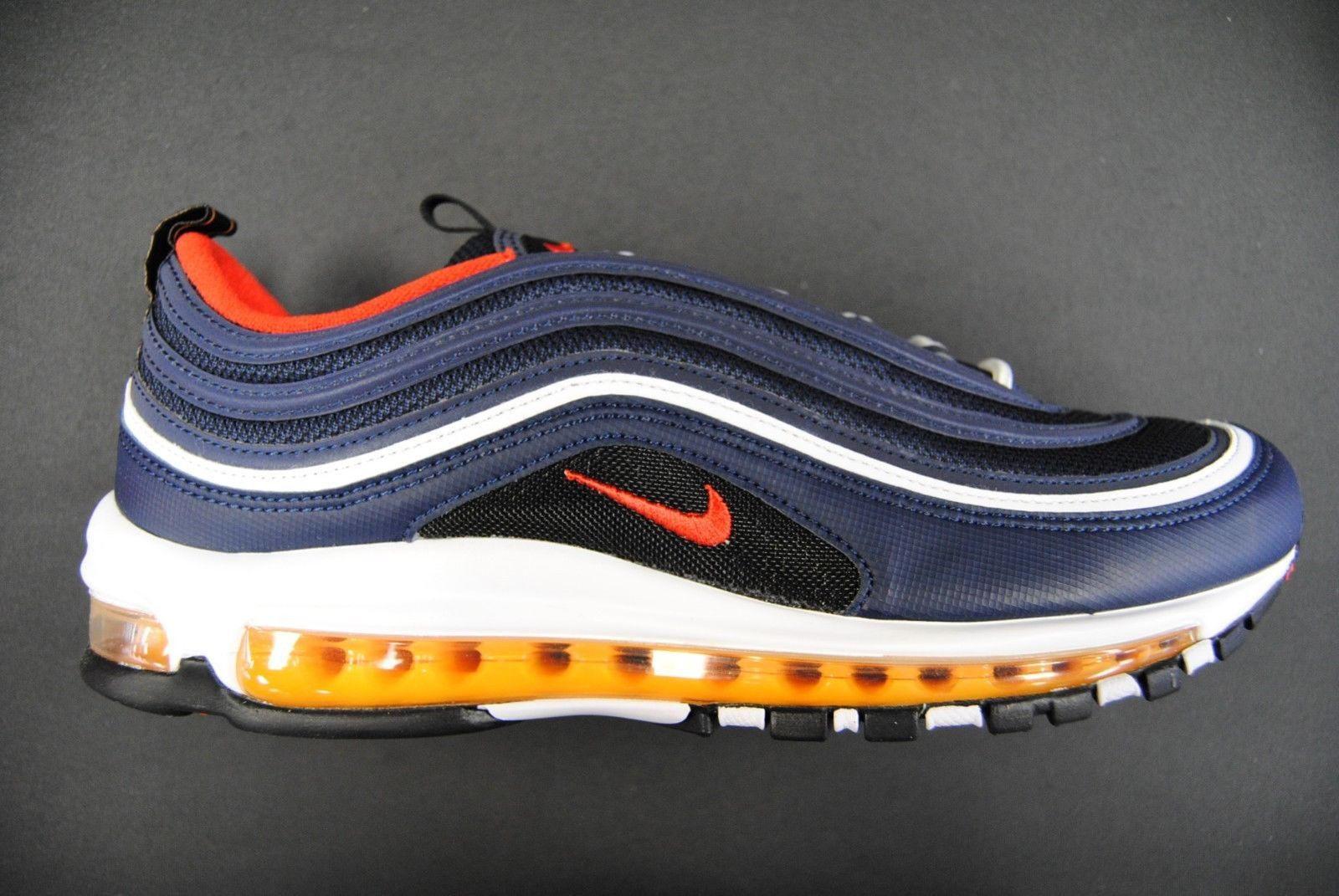pretty nice 19f3a e1619  921826 403  NEW MEN S NIKE AIR MAX 97 MIDNIGHT NAVY HABANERO RED LE1082