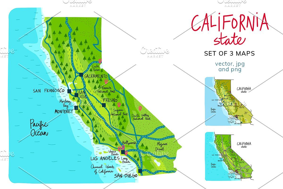 California Maps In 2020 California Map Europe Map Colorful Map