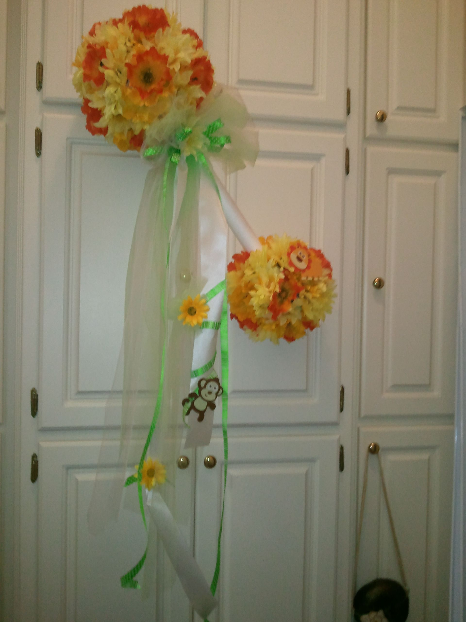 Flower baby rattle for door decoration or hospital door or even mailbox