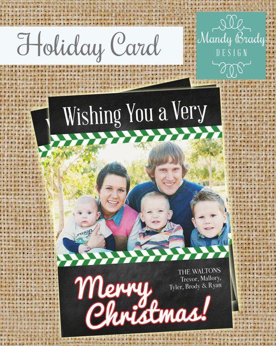 Digital Christmas Card Design   Chalkboard Christmas Card   Herringbone Holiday Card   Printable Christmas Card   Instant Download Card