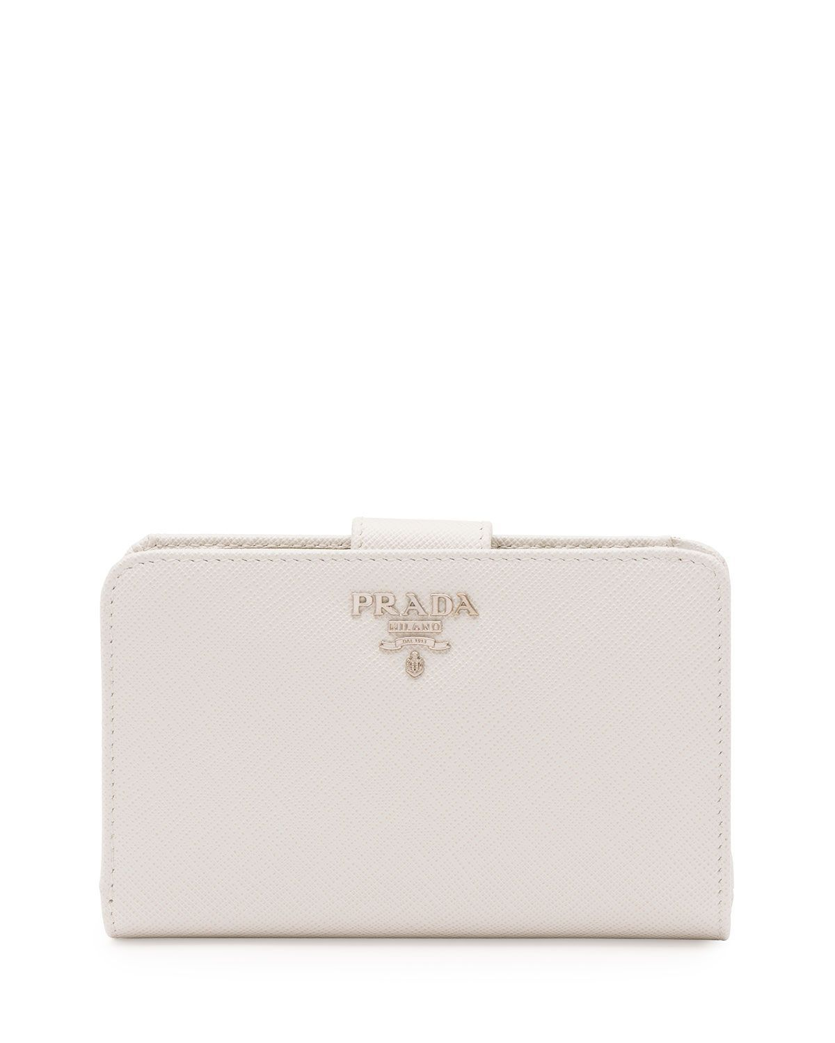 a132d406f4fa86 Saffiano Metal Oro Bi-Fold Wallet White (Talco) | *Handbags, Wallets ...