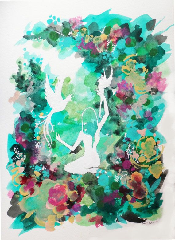 Woodland Watercolor Art Print Floral Meaning By Rikkisneddonart