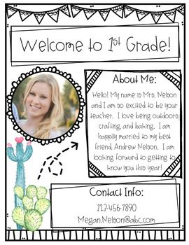 Cactus Meet the Teacher Form!-Editable #meettheteacherideas