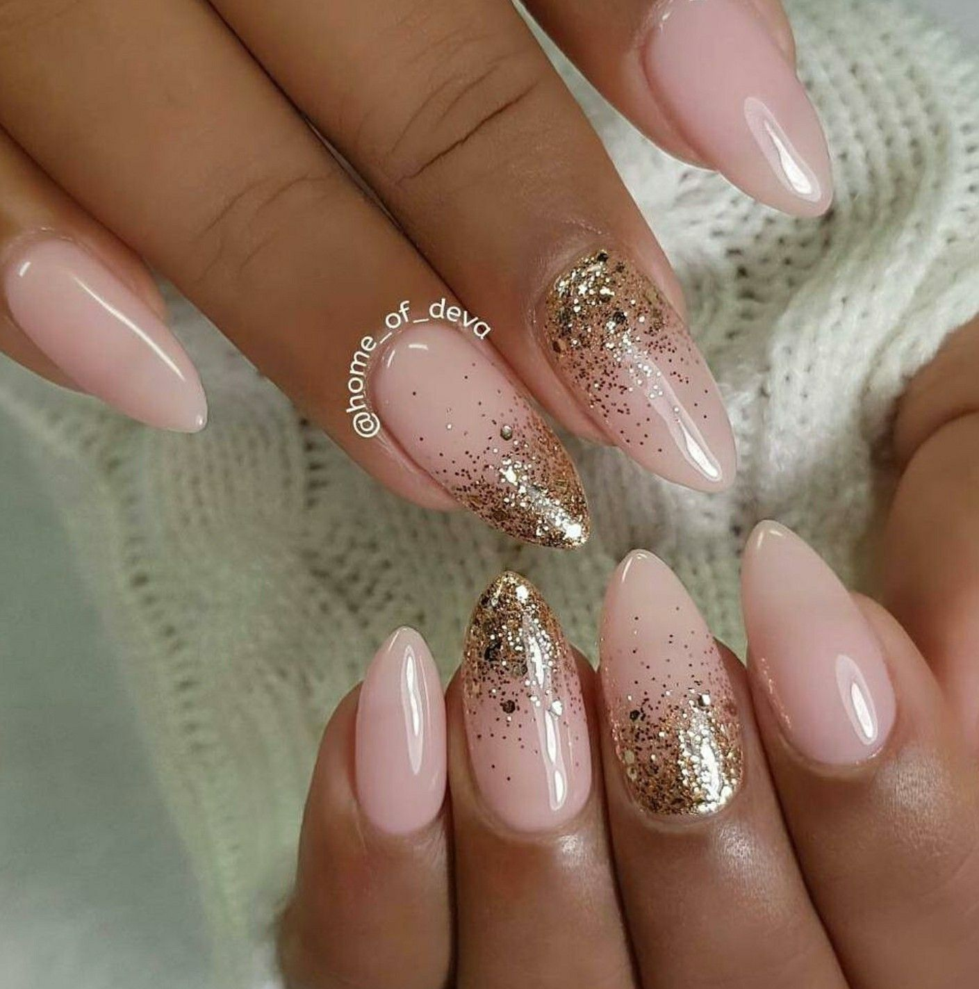 Almond Nails Pink And Gold Gel Acrylic