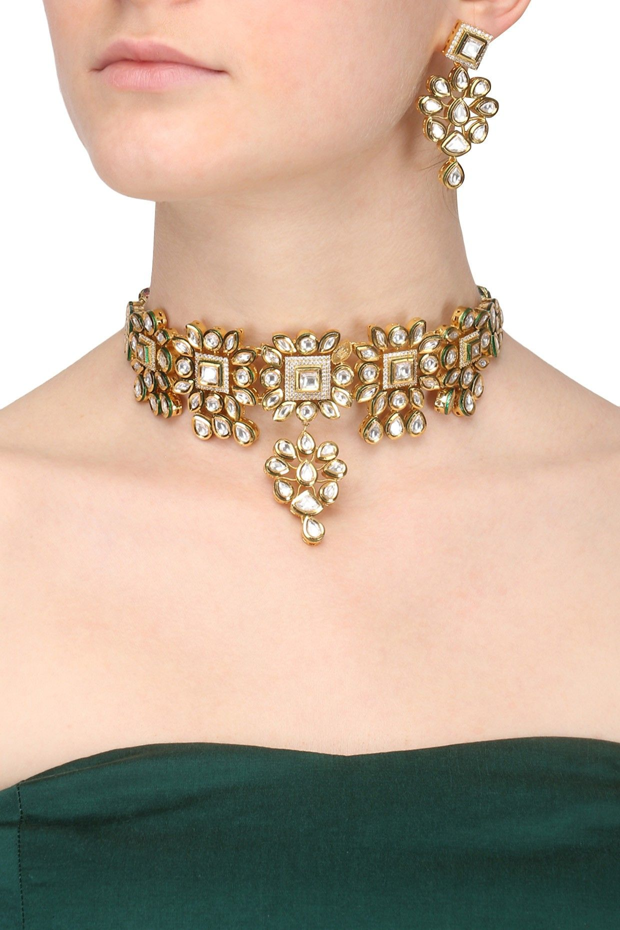 Polki box micro gold plated kundan stone necklace set shop now