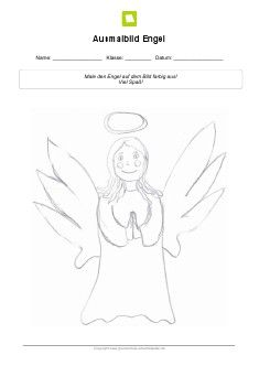 Arbeitsblatt: Ausmalbild Engel | Kostenlose Ausmalbilder | Pinterest