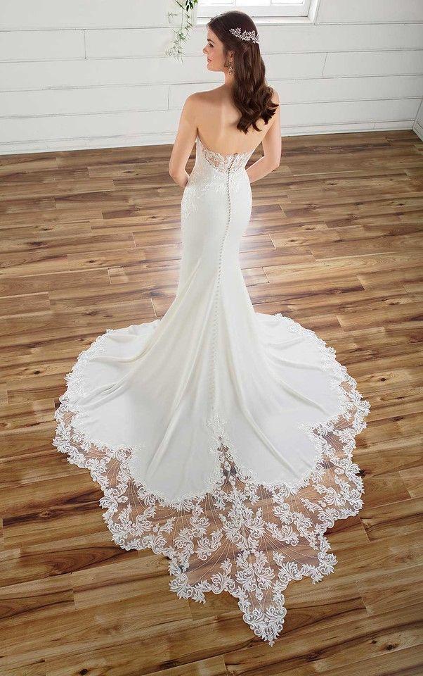 Essense of Australia D2597 Strapless crepe wedding gown