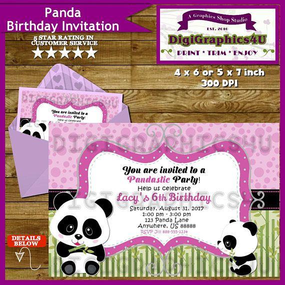 Panda Bear Birthday Party Invitation For Girls Personalized