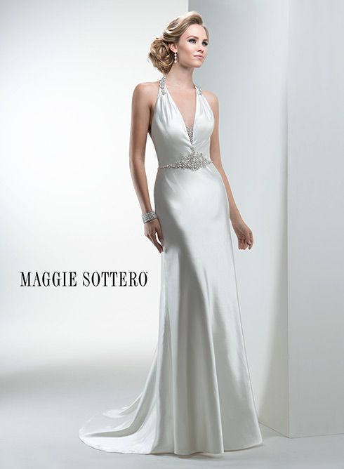 Slinky Satin D The Body In This Lightweight Sheath Wedding Dress Accented With Glittering Swarovski Crystals And Open Dramatic Back