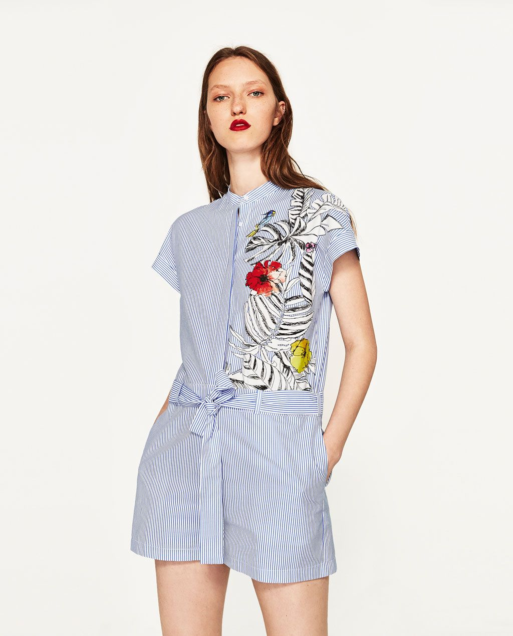3757f24847 Image 2 of STRIPED JUMPSUIT WITH FLOWER from Zara