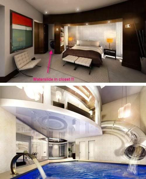 OMG - a waterslide hatch right from the bedroom to the pool - AWESOME!!! If money were no object, I would do this.