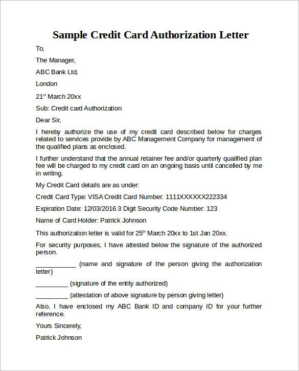 Credit Card Authorization Letter Format Best Template Collection