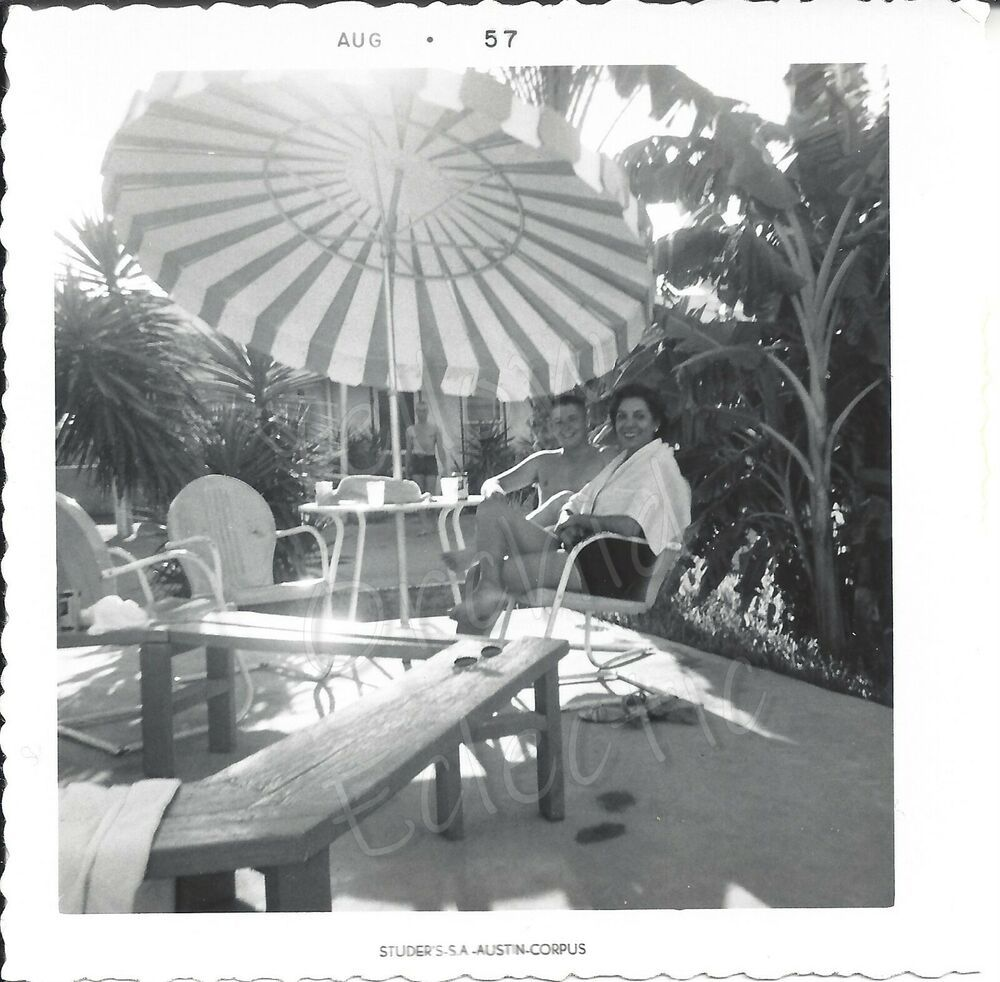 VTG 1957 Photo Pretty Young Woman & Shirtless Man Poolside