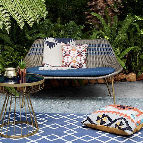 Garden Sheds John Lewis havana 2 seater sofa, brown / blue | outdoor furniture online