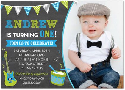 Awesome Making Music Blue Green Photo Birthday Party Invitations For Boy Funny Birthday Cards Online Alyptdamsfinfo