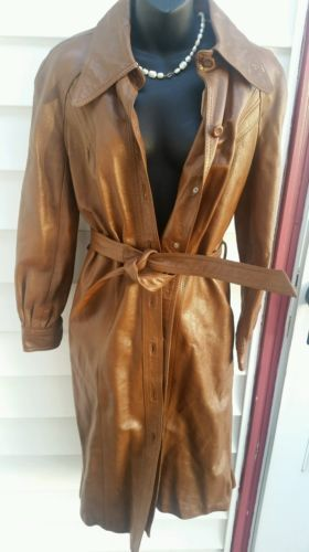Vintage 70s Womens Imperial Size 12 Leather Long Jacket