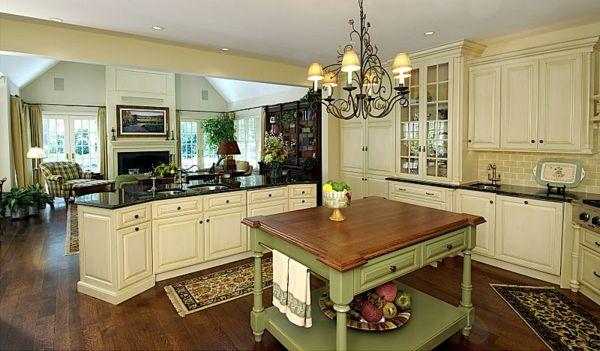 Küchen Einrichtung kücheneinrichtung englischer stil küchentisch teppichläufer leuchter