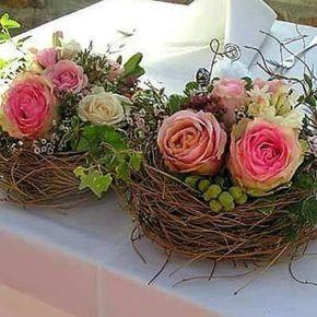 Schöne Rosen im Nest eines Vogels! Wunderschöne rustikale Hochzeitsideen!  #ei…