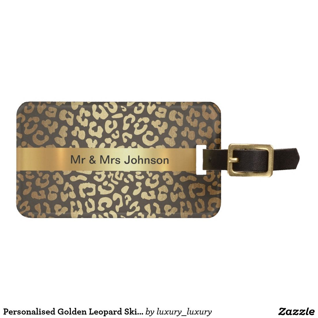 Personalised Golden Leopard Skin Luggage leather Luggage Tag ...