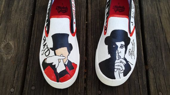 725d1e5dba473 Panic at the Disco Hand Painted Canvas Shoes Fan Art Tribute Brendon ...