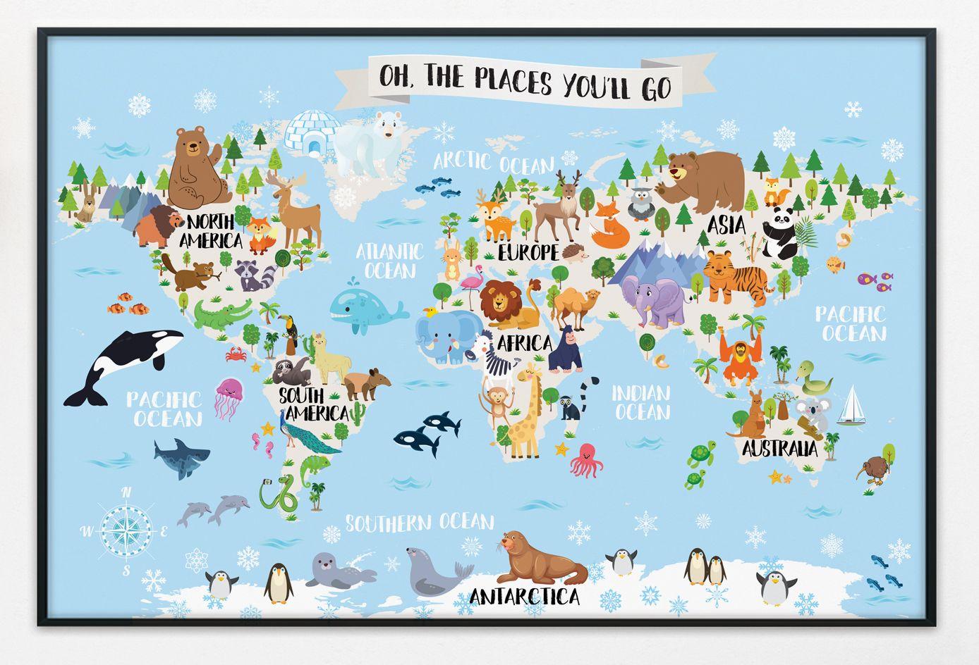 Printable Kids World Map Nursery Animal World Map For Kids Etsy