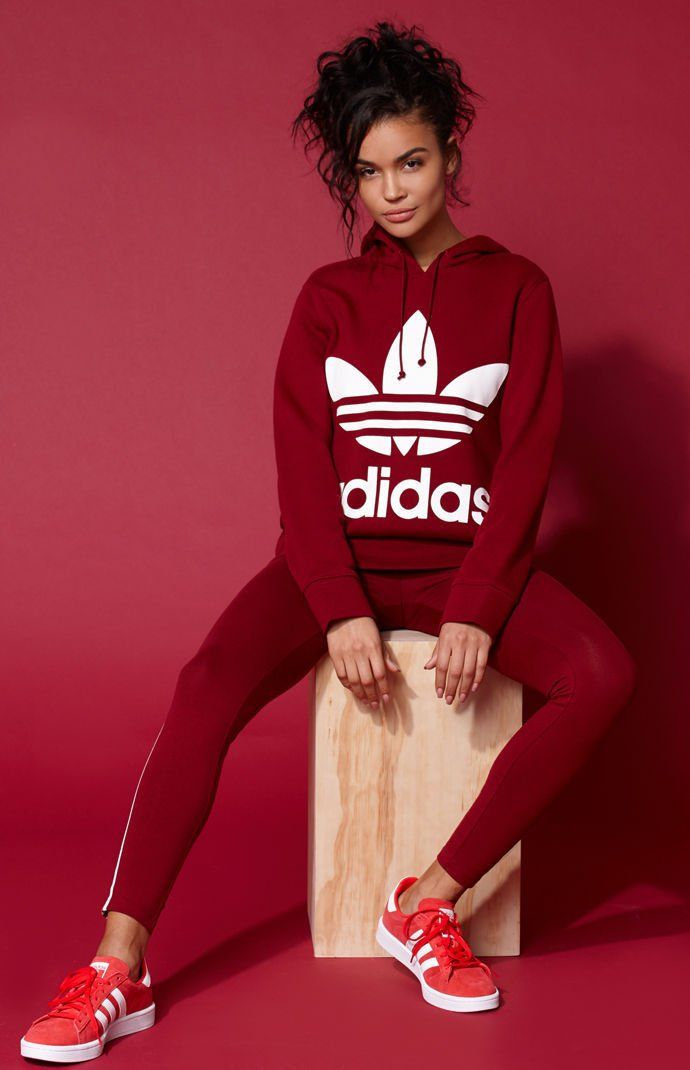 sports shoes cb241 8c65f Adicolor Burgundy Trefoil Hoodie Adidas Outfit, Adidas Shoes, Nike Outfits,  Fashion Outfits,