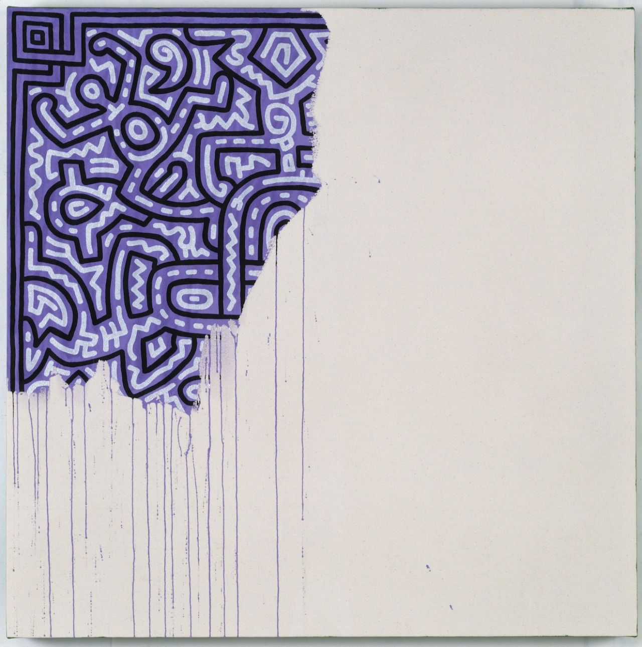 """Keith Haring - Unfinished Painting (1989) """"Keith Haring, famous for his playful, street-inspired patterns and figures, died from complications related to AIDS in 1990, at age 31. This painting, """"Unfinished Painting,"""" was painted in 1989, and is a self-portrait. Haring knew that he would never have the time to complete all the work that he wanted to do."""""""