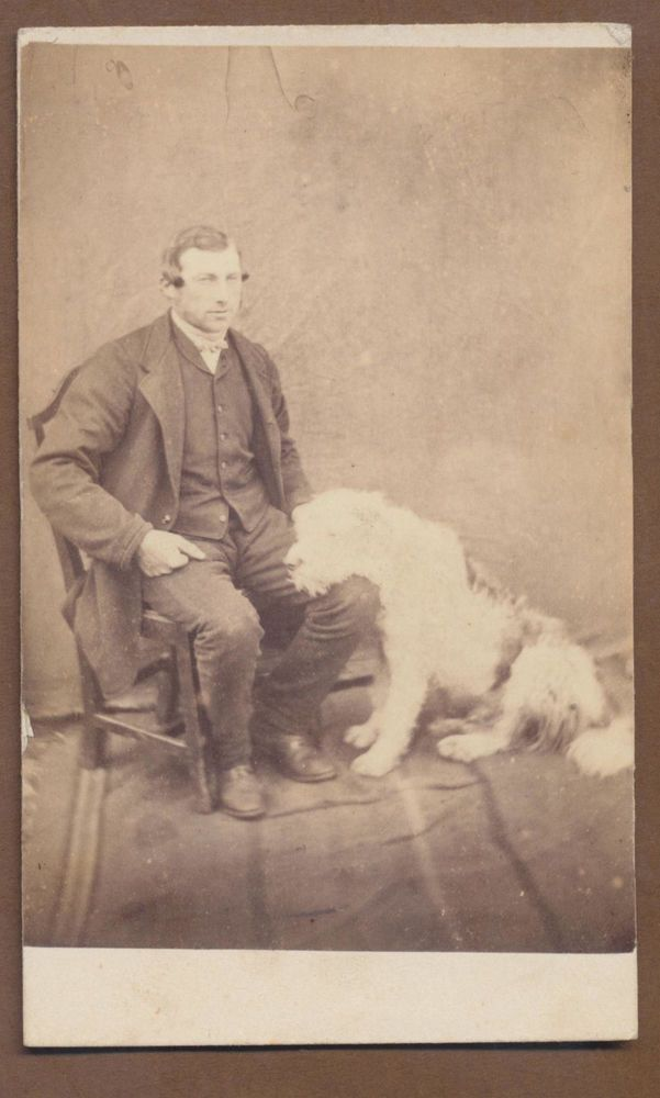 CDV7907 Victorian Carte de Visite: Gent with Dog, Unsigned