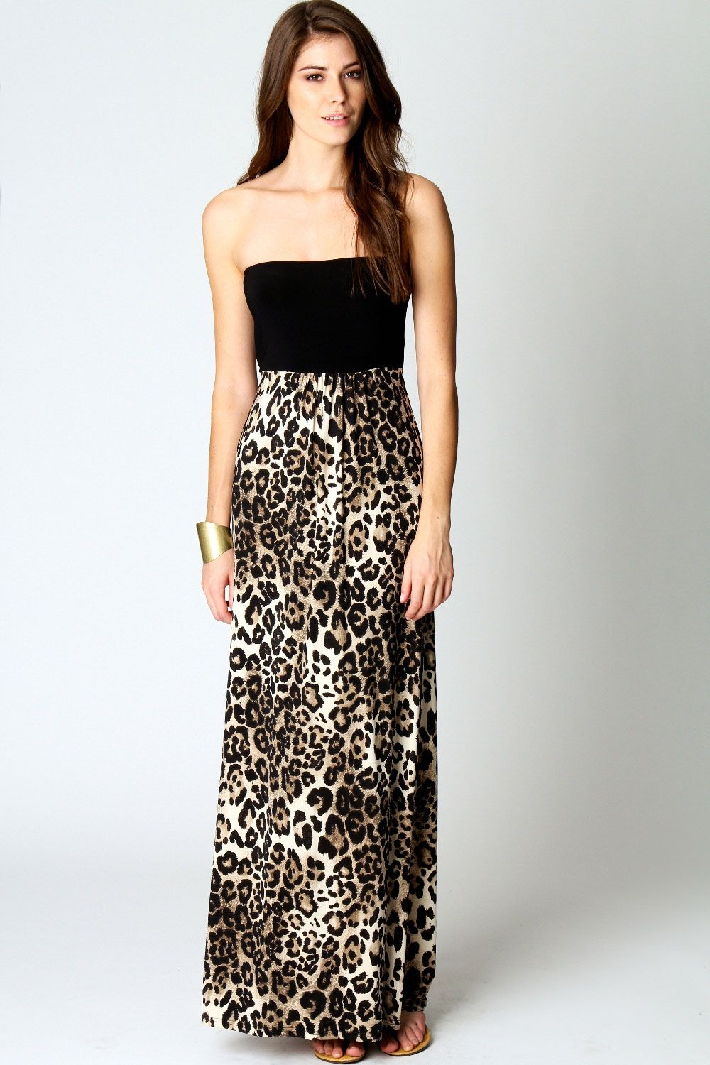 7fd3d4f082 Amie Animal Print Bandeau Maxi Dress