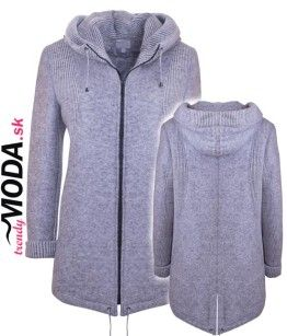 Dámsky šedý zimný kabát s kapucňou - trendymoda.sk  ac03f763ae0