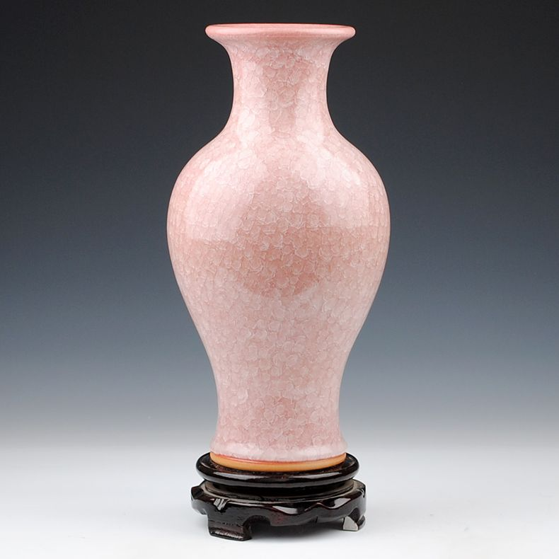 Jingdezhen ceramics pink antique kiln crackle glaze vase borneol ...