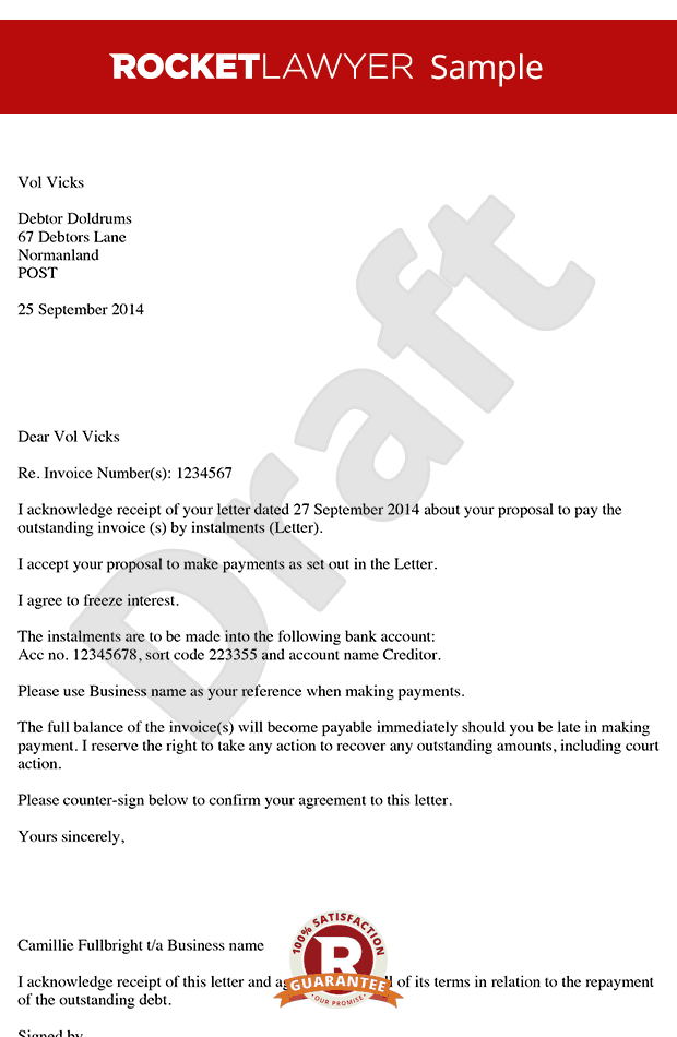 Letter Accepting Payment In Instalments  Instalment Agreement