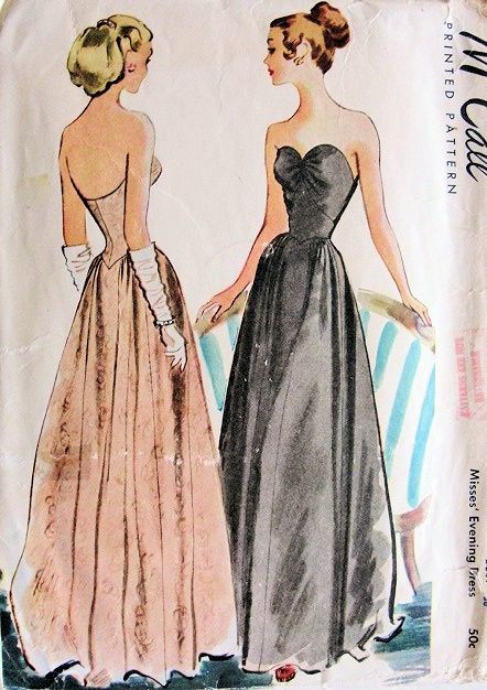STRAPLESS EVENING GOWN PATTERN