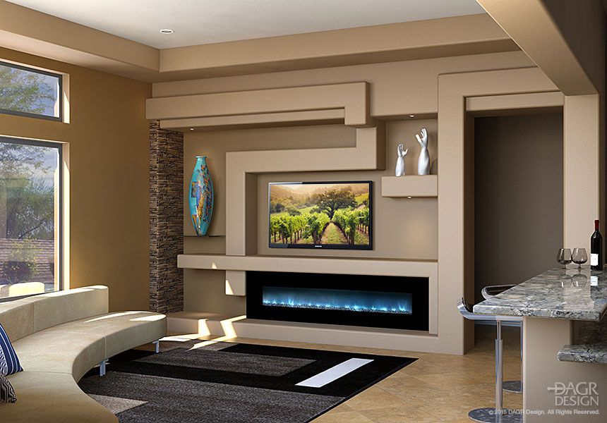 Modern Media Wall Units a modern media wall with stone and a warm color palettedagr