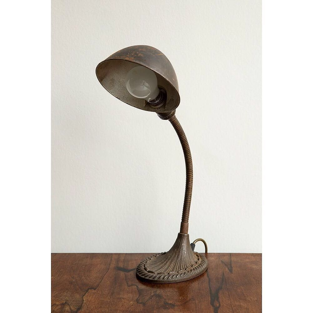 1930s Desk Lamp With Steel Shade Cast Iron Base Stamped Eagle On The Underside American
