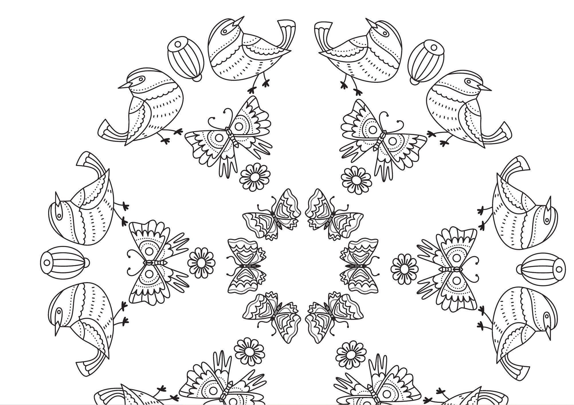 Birds And Butterflies Coloring Page Digital Download For Etsy In 2020 Butterfly Coloring Page Coloring Pages Colorful Butterflies