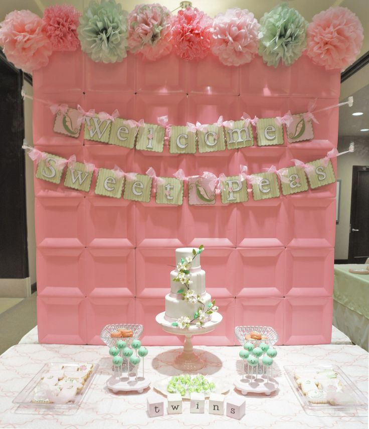 sweet pea pod twin girls baby shower  party backdrops, pink, Baby shower invitation