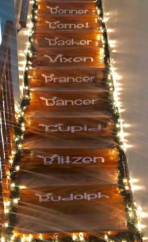 Reindeer Names Christmas Stairs Vinyl Decals Staircase