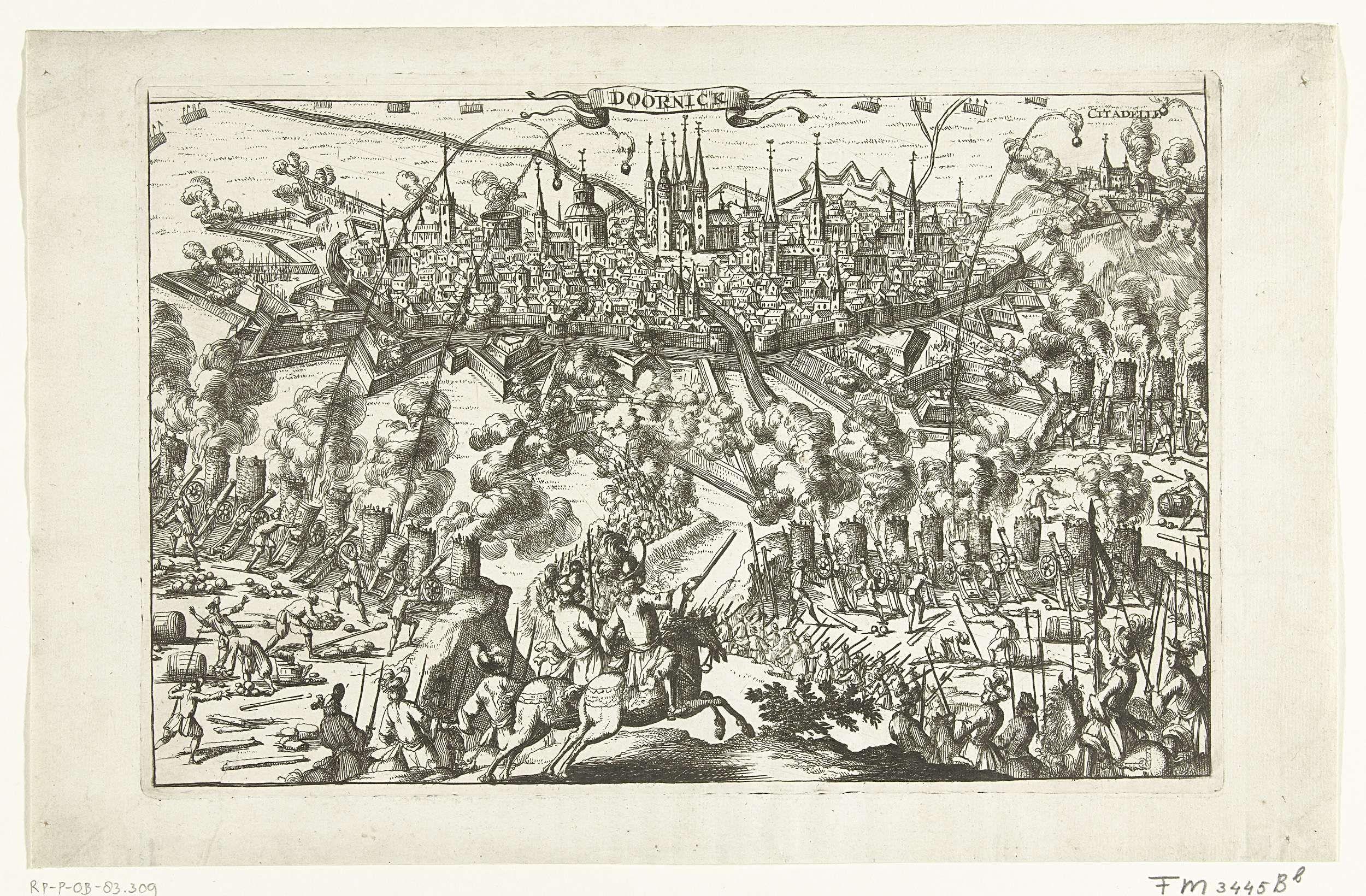 Anonymous | Beleg van Doornik, 1709, Anonymous, 1709 | Tournai (Doornik) belegerd en beschoten door de Geallieerden vanaf 29 juni en ingenomen op 2 september 1709. Op de voorgrond de bevelhebbers te paard.