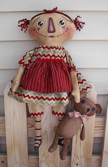 Primitive Pattern Annie and Her Little Teddy Bear Ohhh Sooo Cute ...